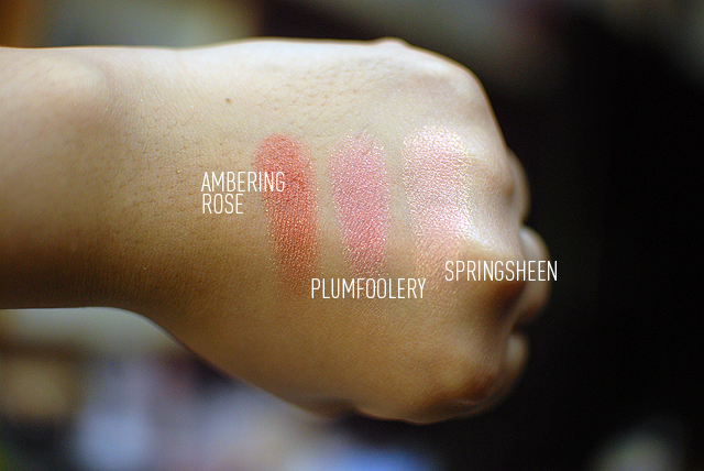 MAC Haul - Blushes - Swatches - Ambering Rose, Plumfoolery, Springsheen
