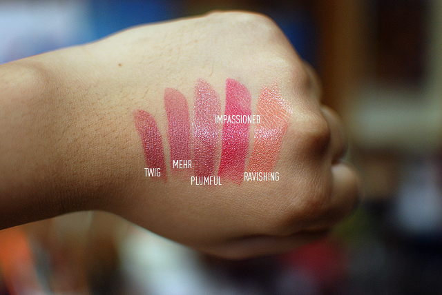 MAC Haul - Lipsticks - Swatches - Twig, Mehr, Plumful, Impassioned, Ravishing