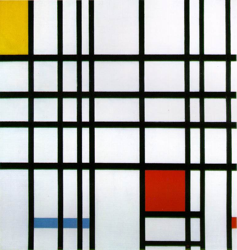 Mondrian-Piet-Composition-with-Yellow-Blue-and-Red-1937-42-Oil-on-canvas-72.5-x-69-cm-28-12-x-27-18-in.-Tate-Gallery-London-