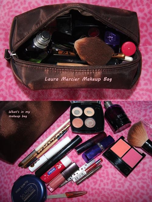 makeup bag and content