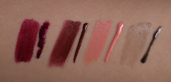 OCC Lip Tar - Black Metal Dahlia, Anita, Annika, Gloss - Little Black Dress - Swatches 1