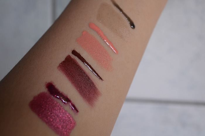 OCC Lip Tar - Black Metal Dahlia, Anita, Annika, Gloss - Little Black Dress - Swatches 2