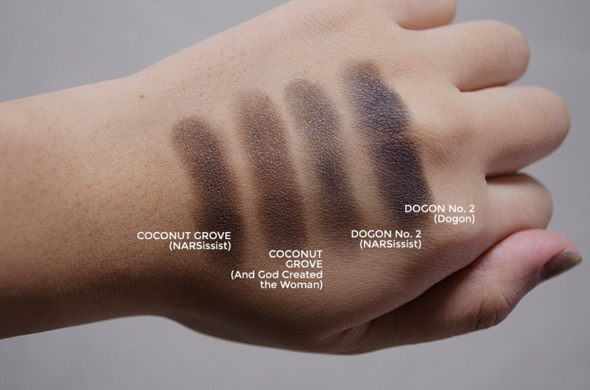 NARSissist Comparisons - Dogon, Coconut Grove - Swatches