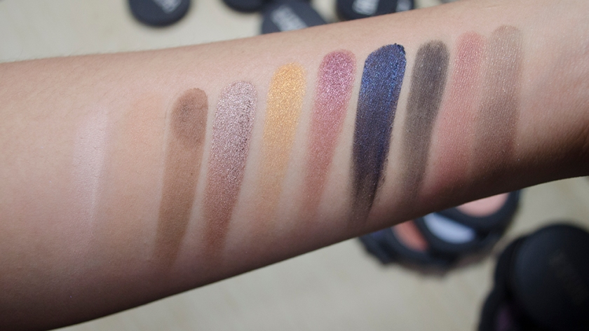 Le Metier de Beaute - Eyeshadow Singles - Swatches - Naked, Peachy Keen, Tamarack, Corinthian, Goldstone, Alexandrite, Midnight Sky, Noir, Brown as a Berry Duo