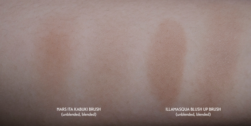 NARS Ita vs Illamasqua Blush Up Brush - Bronzer Swatches w label