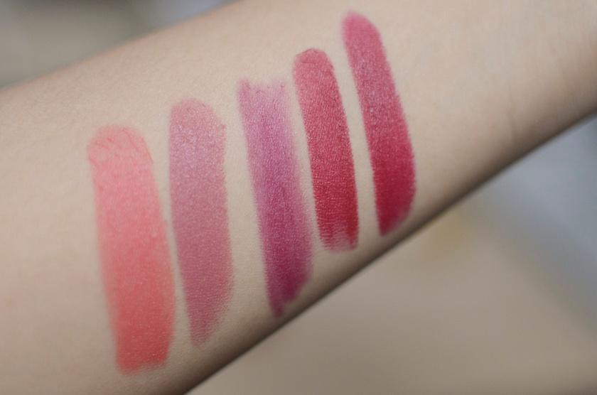 Favorite Matte Lipstick Formulas - Swatches - Chanel Rouge Allure Velvet, Mac Matte, NARS Velvet Matte Lip Pencil, NARS Pure Matte, Le Metier de Beaute Hydra-Creme Matte