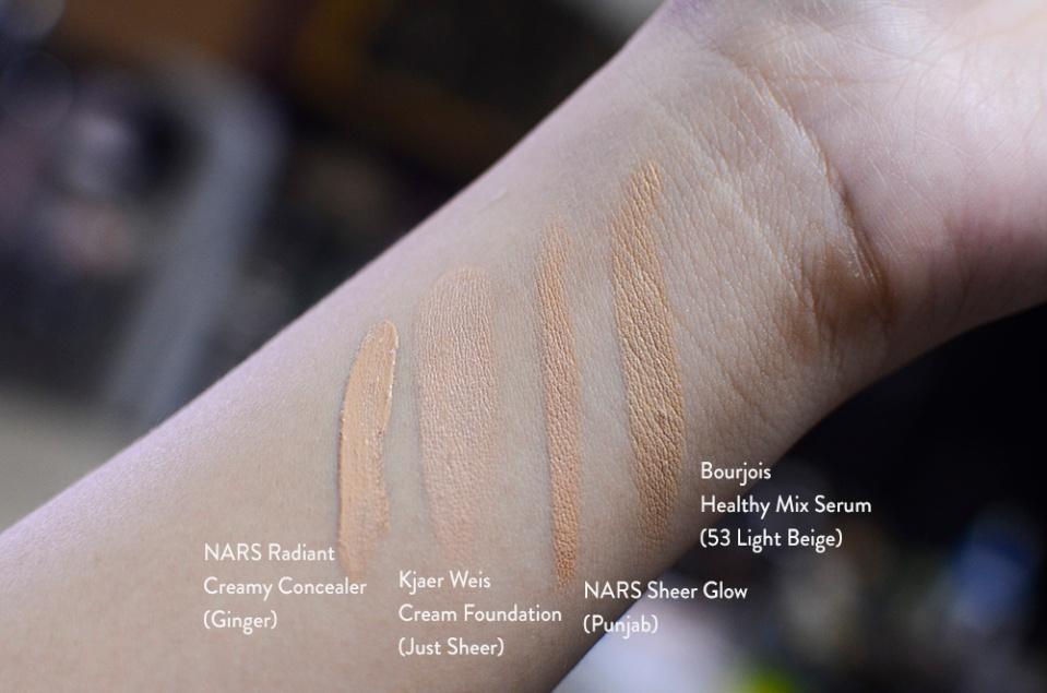 Kjaer Weis Cream Foundation - Just Sheer - Swatch Comparison