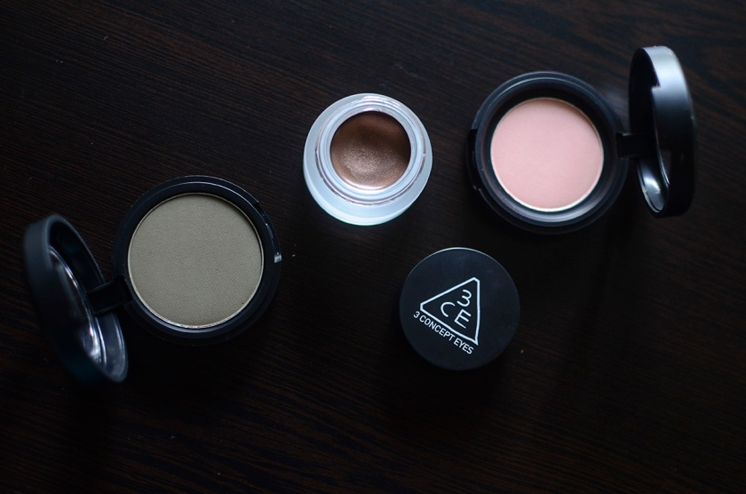 3CE Matte and Cream Eyeshadow - Salmon Pink, Tom Boy, Glamorous