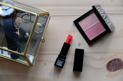MAKE - Silk Lipstick in Scarlet Oak, Custom Effects in Matte Dew