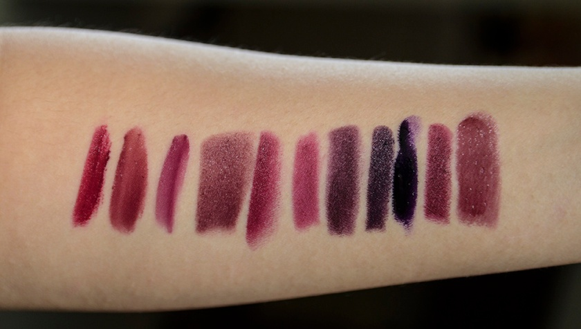 NARS Train Bleu - Comparisons - Guerlain Orgueil, BITE Bordeaux, 3CE Desert Flower, MAKE Jakarta, Addiction Lady of the Lake, NARS Damned, NARS Train Bleu, ColourPop Feminist, OCC Pagan, Kat Von D Mötorhead, THREE Edith's Whisper