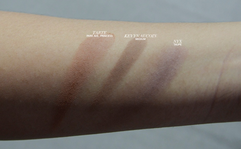 Kevyn Aucoin The Sculpting Powder - Medium - Swatches - Comparison, NYX Taupe, Tarte Park Avenue Princess