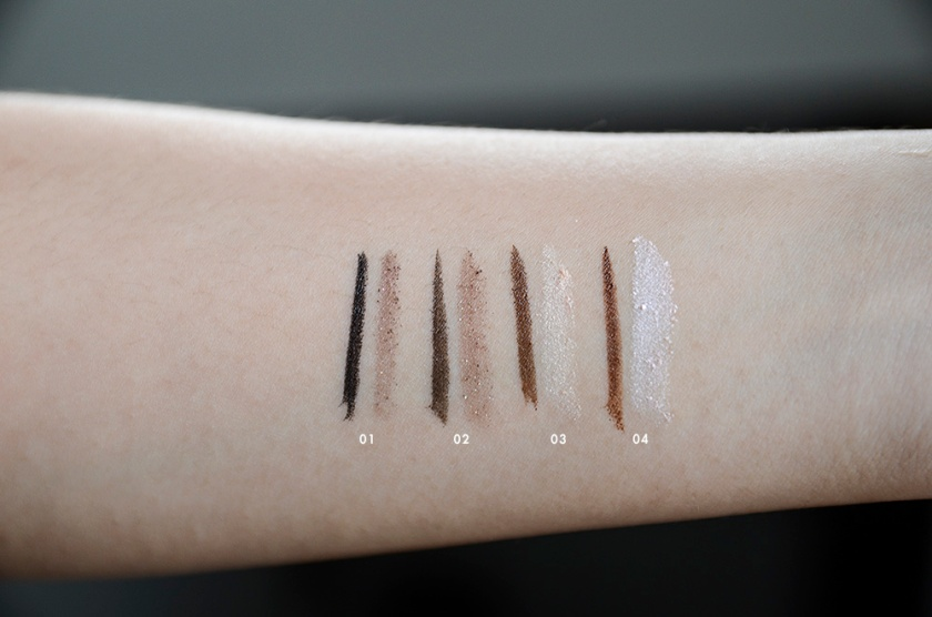 K-Palette Essence in ShadowLiner-Swatches,01 02 03 04